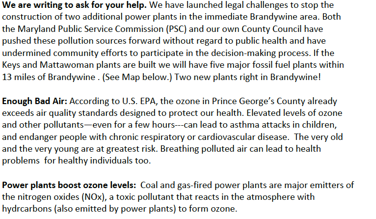 We are asking for your help. Enough bad air. Details are in text on cleanairprincegeorges.org
