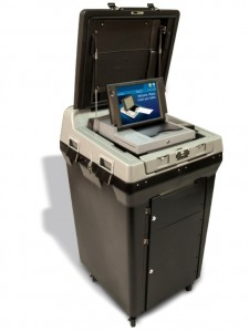 electronic machine with cover up to show scanning area